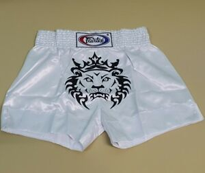 SHORTS FAIRTEX MUAYTHAI FIGHT MMA LION TIGER BOXING WHITE HEAVY WEIGHT 2XL SATIN