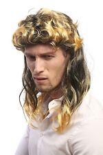 Perücke Damen Herren Karneval Vokuhila Proll 80er schwarz blond gesträhnt Locken