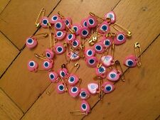 Turkish Handmade 35 Pieces Pink Evil Eye With Safety Pin For Good Luck