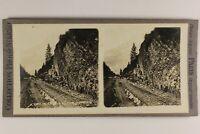 Francia Chamonix Chemin Da Ferro c1900 Foto Stereo Analogica