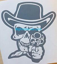 Headshot Skull Decal Outlaw Biker Pistol Skeleton Cowboy Car Window Sticker Land