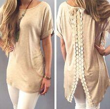 New Women Summer Vest Top Short Sleeve Blouse Casual Tank Tops T-Shirt Lace