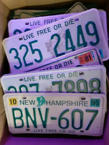 New Hampshire License Plates / Old Man in the Mountain, Live Free or Die, etc..