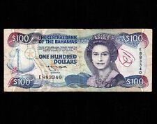 Bahamas 100 Dollars 1974(1992) P-56a * VF, graffiti, 1 ph * Queen Elizabeth *