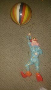 "Vintage Paper Mache Papier Mâché Clown Flying Balloon Hanging 30"" Mid Century"