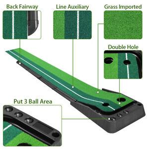 Golf Putting Green Golf Trainer Aid Practice Mat Auto Ball Return Indoor 9.85Ft