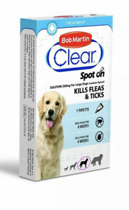 Bob Martin Clear Spot On Flea Treatment Solution For Dogs Kills Fleas And Ticks.