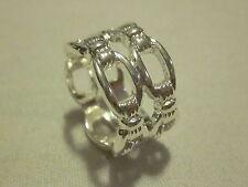 AVON Stunning Silvertone Double Link Ring  Shiny Finish   Size 8