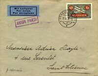 Switzerland 1932 50c Biplane sg324a Airmail to Saint Etienne France with Boxed V