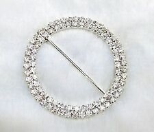 24 X 50mm Round Chair Sash Ribbon Slider Silver Tone Diamante Rhinestone Buckle