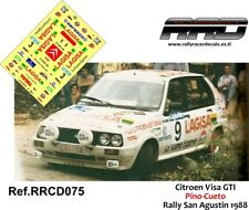 DECAL/CALCA 1/43; Citroen Visa GTI; Pino-Cueto; Rally San Agustin 1988