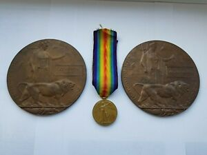 WW1 DEATH PLAQUES & MEDAL TO KENNY BROTHERS,2/4th YORKSHIRE L I,FROM WAKEFIELD