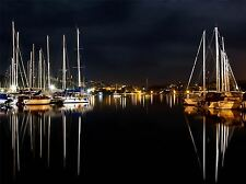 NIGHT HARBOR BOATS SAIL REFLECTION PHOTO ART PRINT POSTER PICTURE BMP886A