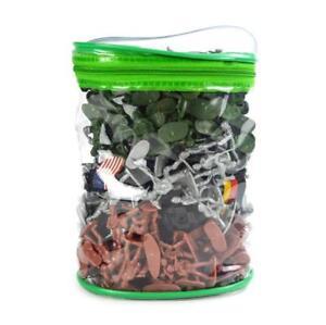 300pcs Painted Soldiers Army Men Plastic   Miniature in Zipper Bag