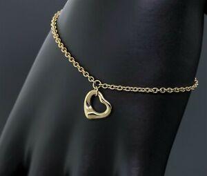 """Tiffany & Co. Elsa Peretti 18K Yellow Gold 11mm Open Heart Chain Bracelet 6.75"""""""