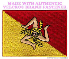 SICILY FLAG PATCH SICILIAN ITALY EMBROIDERED Trinacria w/ VELCRO® Brand Fastener