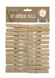 24x Bamboo Clothes Pegs Strong Wind Proof Clips Pine Washing Line Airer Dry Home