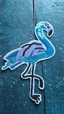 XL Patch Flamingo blau lila mit Pailletten Bügelbild Applikation Vogel