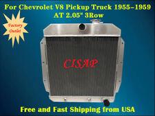 """For Chevrolet V8 Pickup Truck 1955-1959 AT  2.05"""" 3Row Aluminum radiator"""