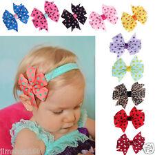 10PC Wholesale Baby Girls Headband Hairband Elastic Wave Point Bowknot Headwear