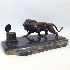 Biedermeier Empire Art Deco Schreibtisch Garnitur Tintenfass Löwe Bronze Figur