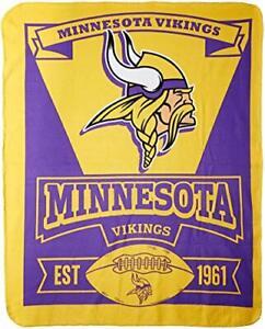 "NFL Minnesota Vikings ""Marque"" Fleece Throw Blanket 50"" x 60"""