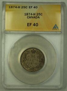 1874-H Canada Silver Quarter 25c ANACS EF-40 JMX