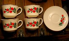 RED ROSE BOUQUET Sabin American Beauty Set of 4 Matched Cups & Saucers W Gold