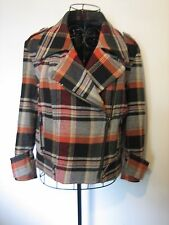 A LOVELY STYLISH FRENCH CONNECTION MIXED COLOUR JACKET  SIZE 12 ZIP FASTENER