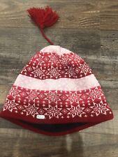 Womans Polartec Bula Ski Hat Red Snowflake Flower