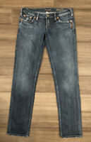SILVER JEANS Women's Monica Skinny Cotton Blend Distressed Blue Jeans-Size 29