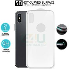 Back Rear White 5D Curved Tempered Glass Screen Protector For Apple iPhone X