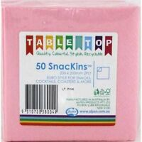 LIGHT PINK SNACKINS NAPKINS PACK OF 50 BIRTHDAY PARTY COCKTAIL NAPKINS