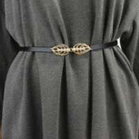 Fashion Real Leather Waist Belt Gold Silver Leaves Faux Pearl Buckle Waistband