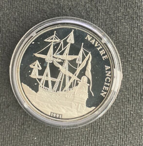 Congo 1991 500 Francs / Navire Ancien / .51 Oz Silver Proof & No Reserve!