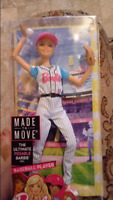 Barbie Doll Baseball Player Made To Move Wears Uniform In Blue 22 Joints
