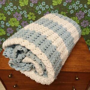 Vintage Chunk Blue White Stripe Knitted Crochet Wool Blanket / Throw / Bedspread
