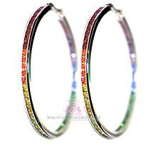 """Women Gods Promise 2"""" Hoop Rainbow Cubic Zirconia Glam Earrings Silver Gala"""