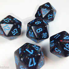 Set of 5 D20 Chessex Dice Blue Stars Speckled Black w/ Blue #s - Rare  - D&D rpg