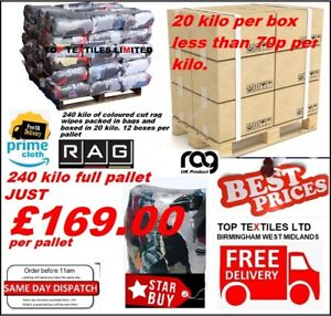 240kg General Purpose Graded Bag of Rags - Cleaning - Wiping- Wipes CAR VALETING