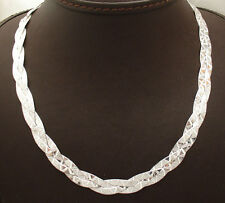 """16"""" Reversible Triple Woven Herringbone Chain Necklace Real Sterling Silver 925"""
