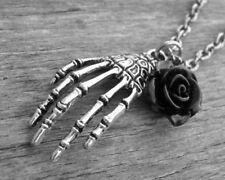 Silver Skeleton Hand Necklace Skeleton Jewelry Skeletal Hand Bones Gothic Bone