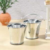 2pcs 1/12 Dollhouse Miniature Metal Silver Bucket Pail Bathroom Accessories
