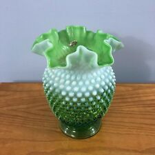 "Fenton, Hobnail, Green/Lime Opalescent, ~8"" Vase, Double Crimped Rim (389)"
