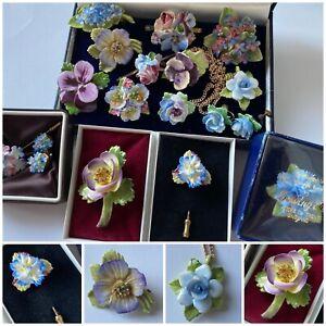 Job Lot Vintage Blue Bone China Floral Jewellery inc Dorothy Ann, Adderley etc