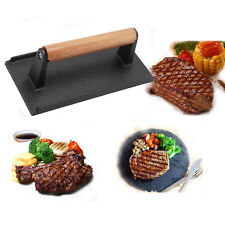 Heavy duty Cast Iron Bacon Steak Meat Press Grill Cooking 1kg Weight Barbeque UK