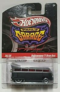 2009 Hot Wheels Phil's Garage Volkswagen T1 Drag Bus Silver/Black Real Riders!