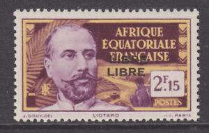 French Equatorial Africa Sc 114a MNH. 1940 2.15fr Victor Liotard, Double Ovpt.