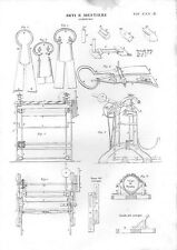 Stampa antica CIMATURA TESSUTI finissaggio tessile attrezzature 1848 Old print