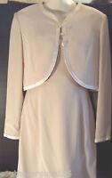Oleg Cassini BLACK TIE Affair Dress & Jacket Suit Womens 8 Ecru Beige Cream EUC